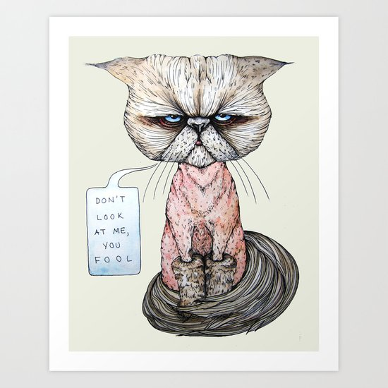 Kitty Got A Haircut Art Print