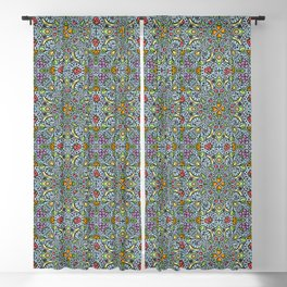 Fruits and Veggies - cute healthy food pattern Blackout Curtain