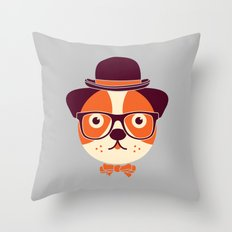 Hipster Dog Throw Pillow