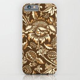William Morris Sunflowers, Chocolate Brown & Beige iPhone Case