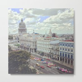 Overview of Havana main street and Capitolio Metal Print