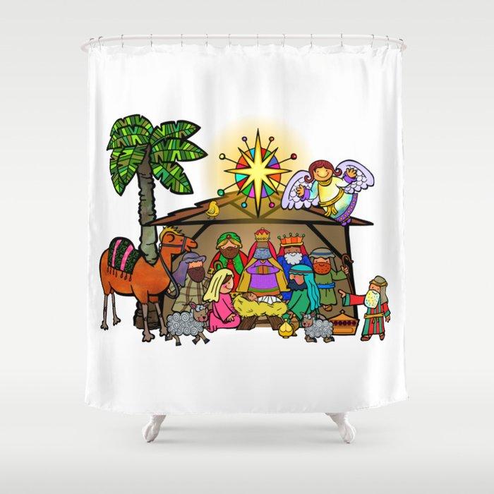 Christmas Nativity Cartoon Doodle Shower Curtain By Prawny