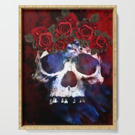 Red, White, and Blue Skull Serving Tray