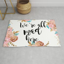 We're all mad here - golden floral Rug