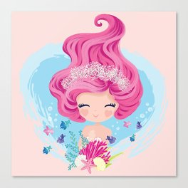 Little cute mermaid with fishes and seashells Canvas Print