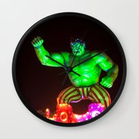 hulk Wall Clocks featuring Hulk by Roser Arques