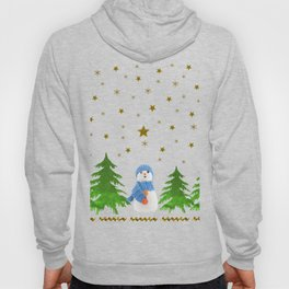 Sparkly gold stars, snowman and green tree Hoody