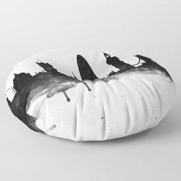 London, black and white Floor Pillow