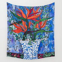 Birds of Paradise in Blue After Matisse Wall Tapestry