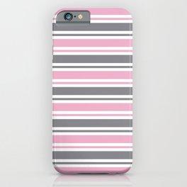 Pastel Pink & Gray & White Stripe Pattern iPhone Case
