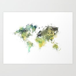 world map 88 art green Art Print