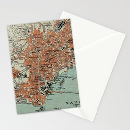 Vintage Map of Naples Italy (1911) Stationery Cards