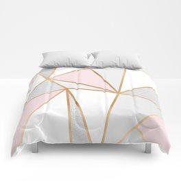 Pink, Grey & Gold Geo Comforters