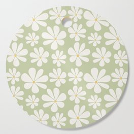 Floral Daisy Pattern - Green Cutting Board