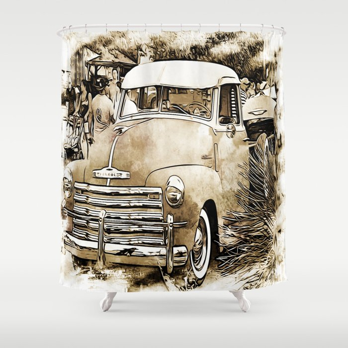 1950s Vintage Chevy Chevrolet Pick Up Truck Shower Curtain