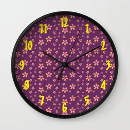 Yellow and Red Button Flowers on Purple Wall Clock