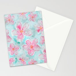 Hand painted teal fuchsia watercolor floral Stationery Cards