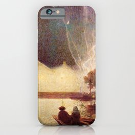 Fireworks over the Port landscape painting by Ferdinand Du Puigaudeau iPhone Case