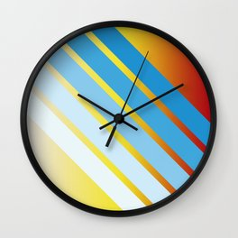 Blue Colored Stripes on Red Yellow Color Gradient Wall Clock