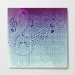 Aqua Purple Ombre Music Notes Metal Print