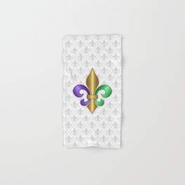 Purple Green and Gold Fleur-de-Lis on Gray Pattern Hand & Bath Towel