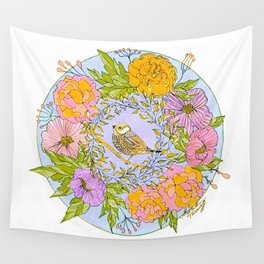 Spring Chickadee in Flowery Woodland Wreath Wall Tapestry