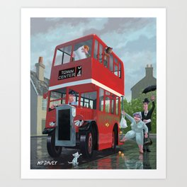 bus queue for a red bus on a rainy day Art Print