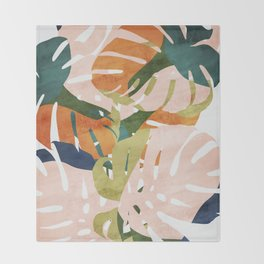 Monstera delight Throw Blanket