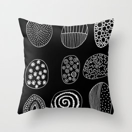 Black and White Patterned Pebbles Throw Pillow