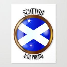 Scottish Proud Flag Button Canvas Print