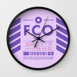 Baggage Tag D - FCO Rome Fiumicino Italy Wall Clock