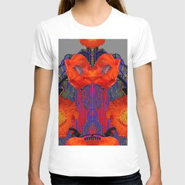 Modern Art Nouveau Fiery Orange Poppy Flowers Purple Art T-shirt