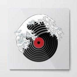 The Great Wave of Music DJ Vinyl Record Turntable Hokusai Metal Print