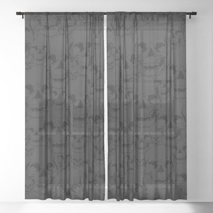 Dark Skulls Sheer Curtain