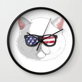 Patriotic Exotic Shorthair Cat Kitty Merica American Flag Wall Clock