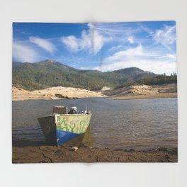 Boat At Water's Edge Throw Blanket