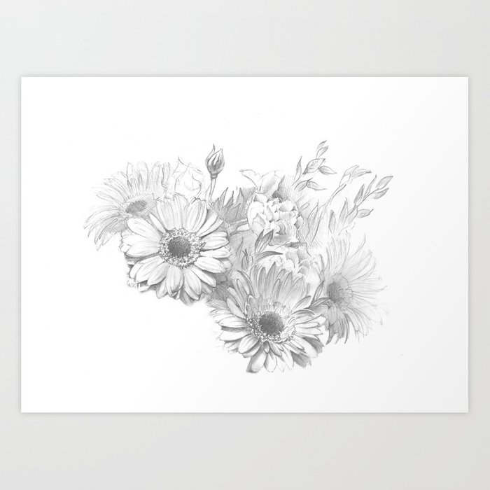 Beautiful Flowers Realistic Pencil Drawing On Paper Art Print By