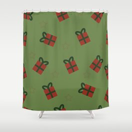 Gifts and stars - green and red Shower Curtain