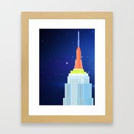 Empire State Building New York Illustration Framed Art Print