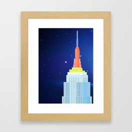 Empire State Building New York Illustration Framed Art Print