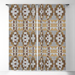 Brown Taupe Tan Gray Native American Indian Mosaic Pattern Blackout Curtain