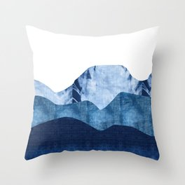 Mountains in Shades of Indigo Shibori Throw Pillow