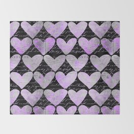 Pink Purple Heart Typography Pattern Throw Blanket