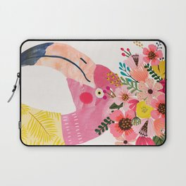 Pink flamingo with flowers on head Laptop Sleeve