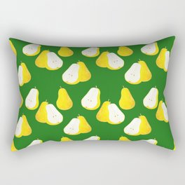 Watercolor Pear Pattern ~ Green Rectangular Pillow