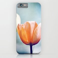 Orange Tulip Navy Blue Flower Photography, Coral Peach Floral Nature iPhone 6s Slim Case