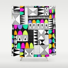 neon colors pattern with doodle elements. Shower Curtain