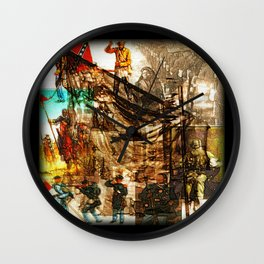 Cabsink16DesignerPatternWH Wall Clock