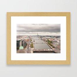 Dublin city center aerial view Framed Art Print