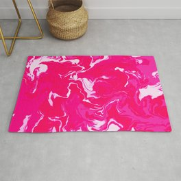 Red Pink and White Marble Pattern Rug